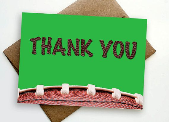 INSTANT DOWNLOAD Football Thank You Card - Printable file Football - ticket invitation template