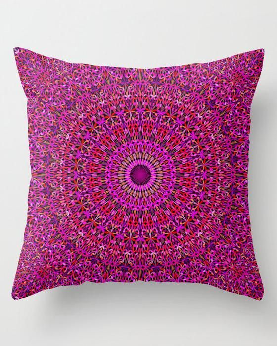 Cosy Bedroom  Deep Pink Garden Mandala Throw Pillow  #MandalaPillow #pink #garden #mandalas #pillows #cushion #throwpillows #roomdecor #homedecor #decor #boho #sacredgeometry #flowers #color #flowermandala #colormandala #art #gift #christmasgifts #CosyBedroom #ModernBedroom #IndustrialBedroom