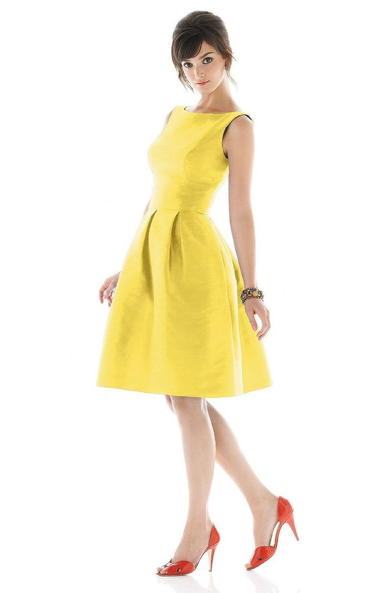 Short yellow bridesmaid dresses boatneck scoop back waistband