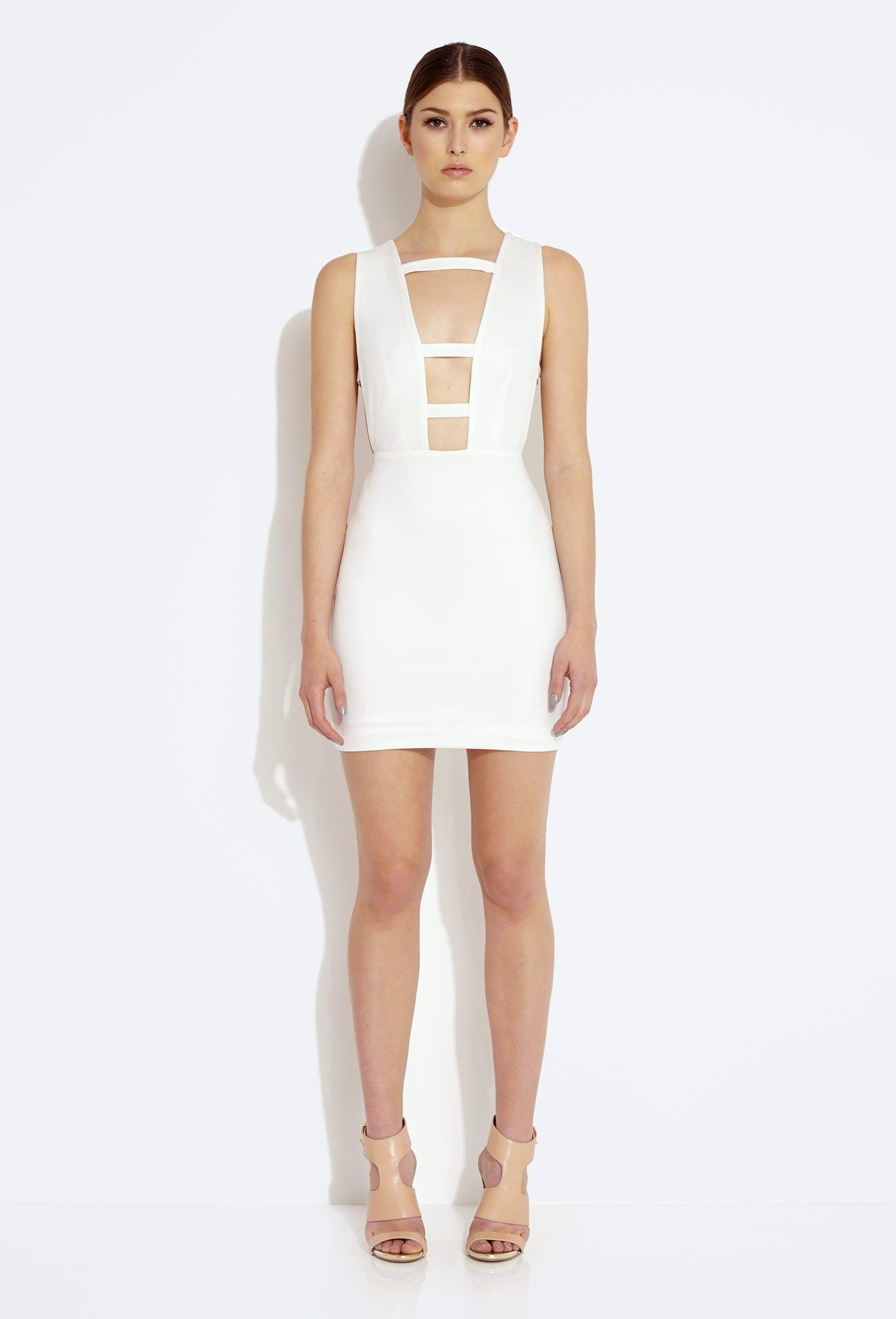 Request Deep Plunge Mini Dress - Cream   AQ/AQ   Plunge