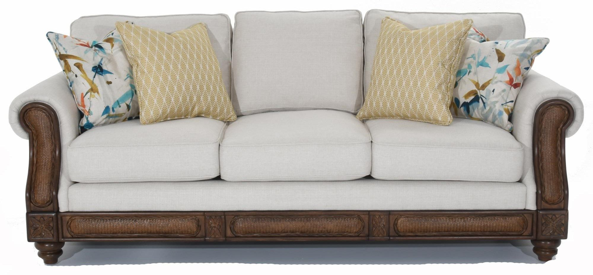 68086 Rolled Arm Sofa With Rattan Detail By Trend Resources
