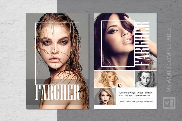 Fashion Modeling Comp Card Template With Free Comp Card Template Model Comp Card Card Template Birthday Card Template Free