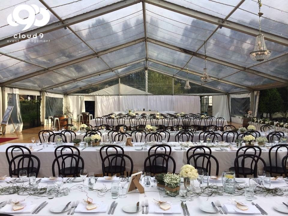 Tennis Court Love   Bentwood Chairs, Clear Roof W/ Fairy Lights, Succulents  + Roses