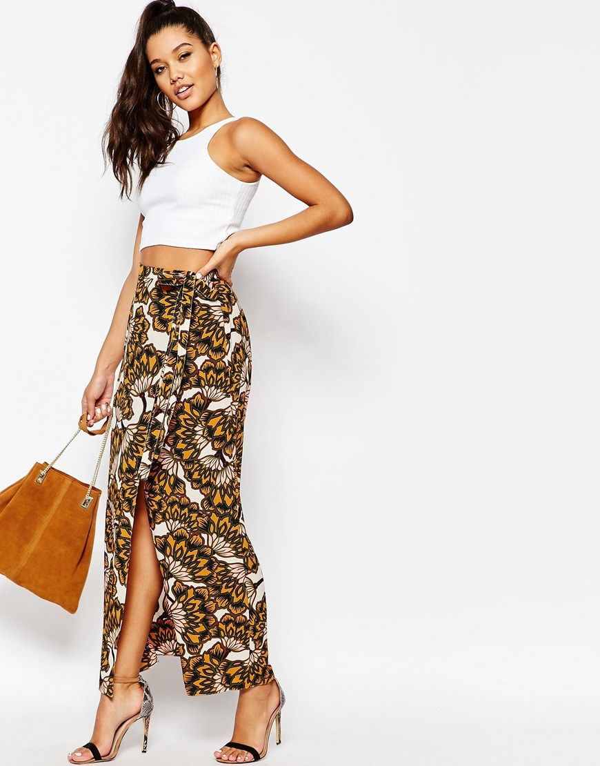 River Island Floral Print Wrap Maxi Skirt | Pinterest | Print wrap ...