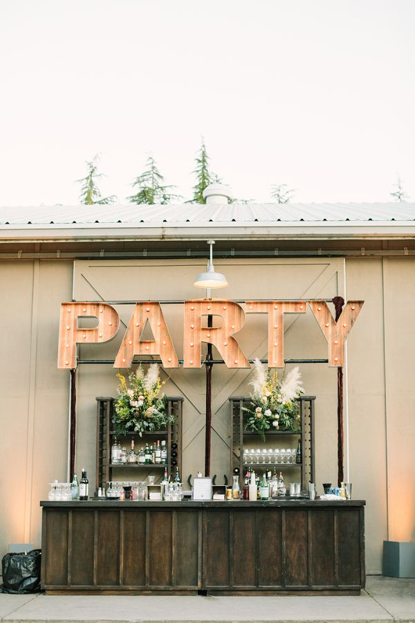 Rustic wedding bar: http://www.stylemepretty.com/california-weddings/sonoma/2016/09/14/yellow-grey-glam-ranch-wedding/ Photography: The Edges Wedding - http://www.theedgeswed.com/