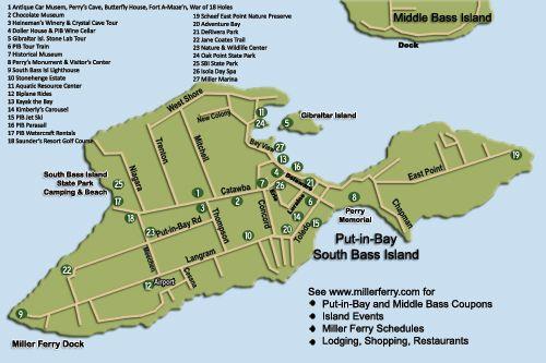 Map Of Put In Bay South Bass Island Putinbay Put In Bay Ohio