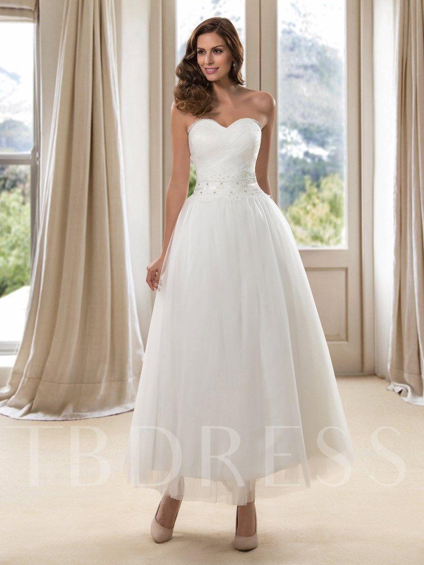 Sweetheart Ankle Length Beach Wedding Dress Ankle Length Wedding Dress Wedding Dresses Short Wedding Dress [ 1120 x 840 Pixel ]