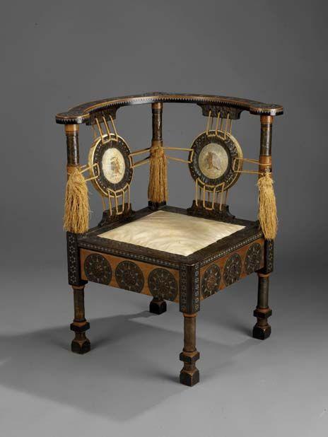 art deco corner table art nouveau a de vecchi chair c 1904 mahogany exotic wood