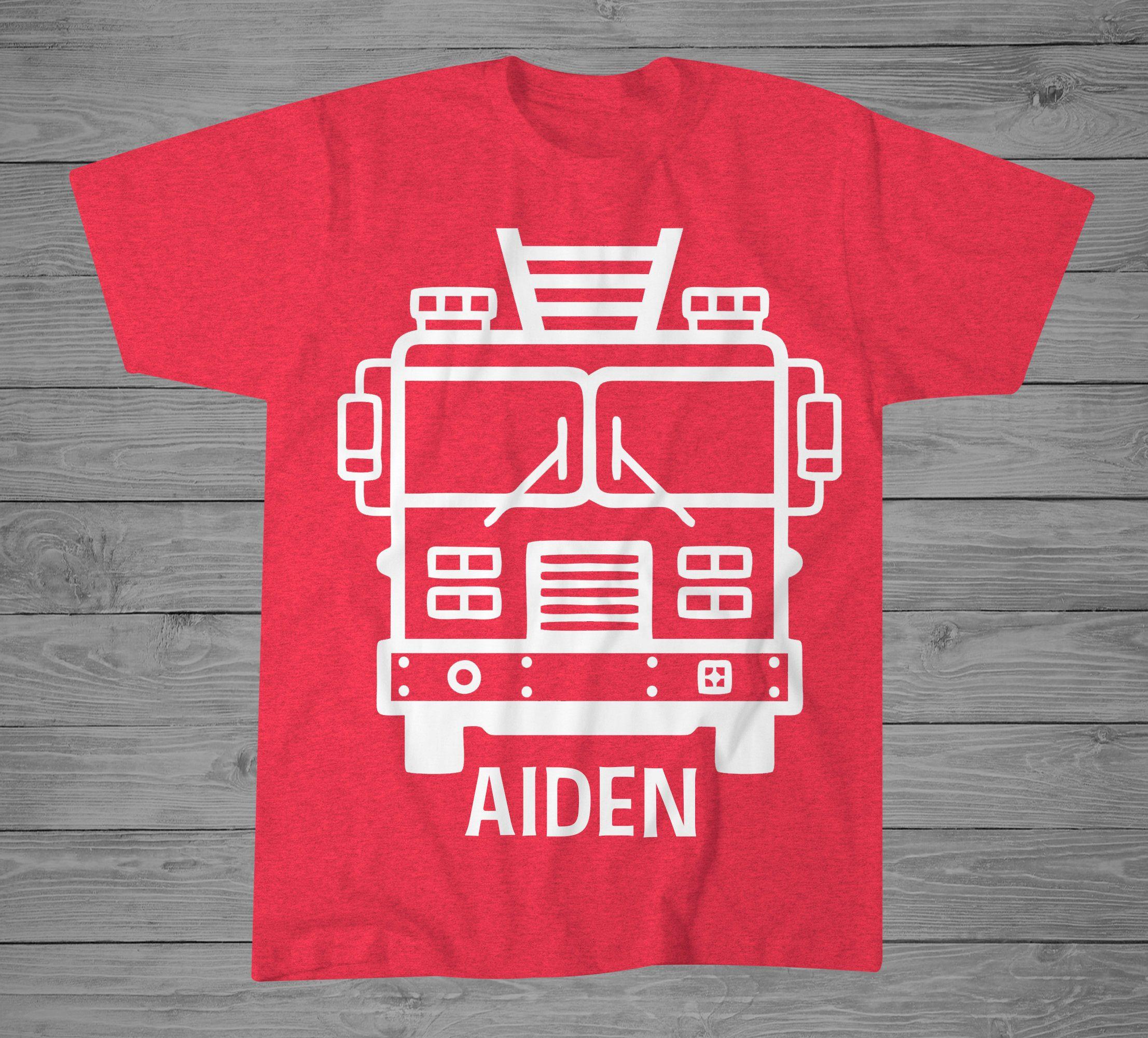Firefighter fireman fire truck birthday Shirt Made to order