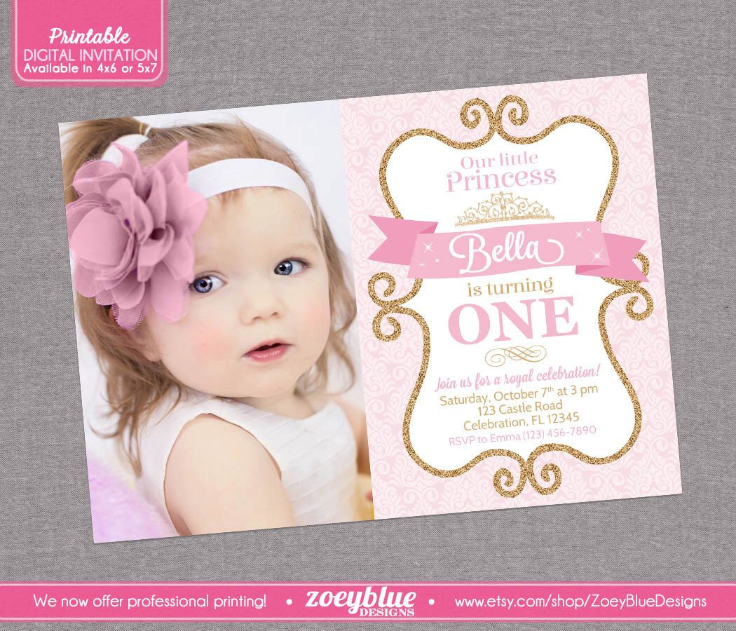 Princess Birthday Invitation Girl Gold Glitter Pink Damask Royal Party 1st First