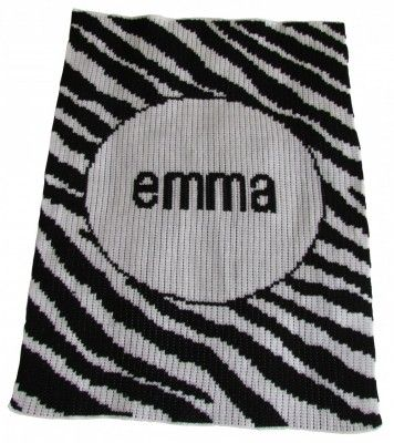 Butterscotch Blankees Knit Blanket - Zebra with Name