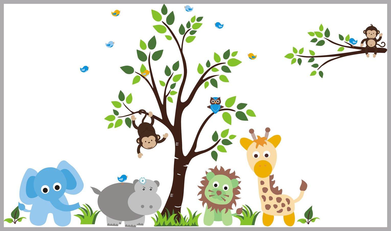 Baby Bump Nursery Wall Decals Safari Animal Decals Jungle Wall