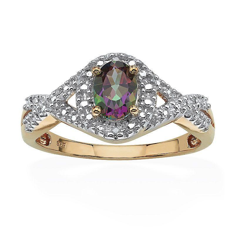 Womens Diamond Accent Genuine Mystic Fire Topaz 18K Gold