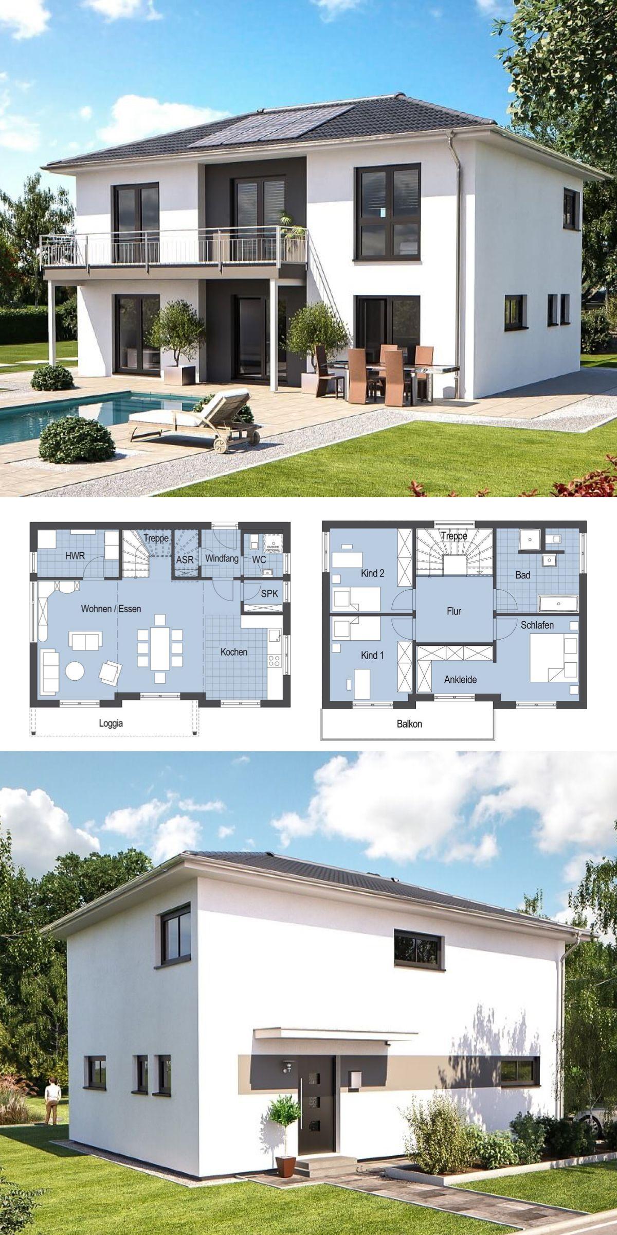 Stadtvilla modern mit Walmdach Architektur Hausbau Ideen