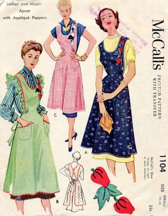 1940s Sewing Pattern McCalls 1104 Vintage Bib Apron with Peppers ...