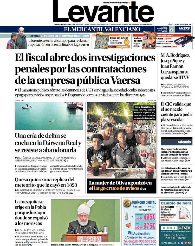 Los Titulares y Portadas de Noticias Destacadas Españolas del 30 de Marzo de 2013 del Diario Levante ¿Que le parecio esta Portada de este Diario Español?