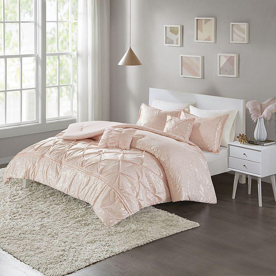Intelligent Design Adele Metallic 4 Piece Twin Twin Xl Comforter