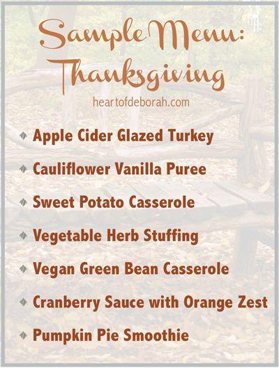 Thanksgiving Sample Menu Healthy Thanksgiving Recipes Easy