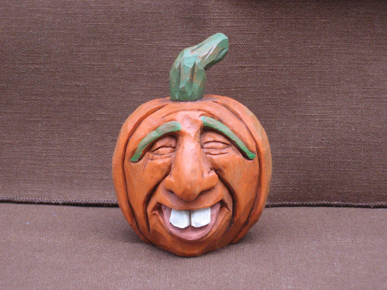 Hand Carved Halloween Pumpkin Jack O Lantern 25 00 Via Etsy Sold Halloween Pumpkins Carvings Carving Wood Carving Faces