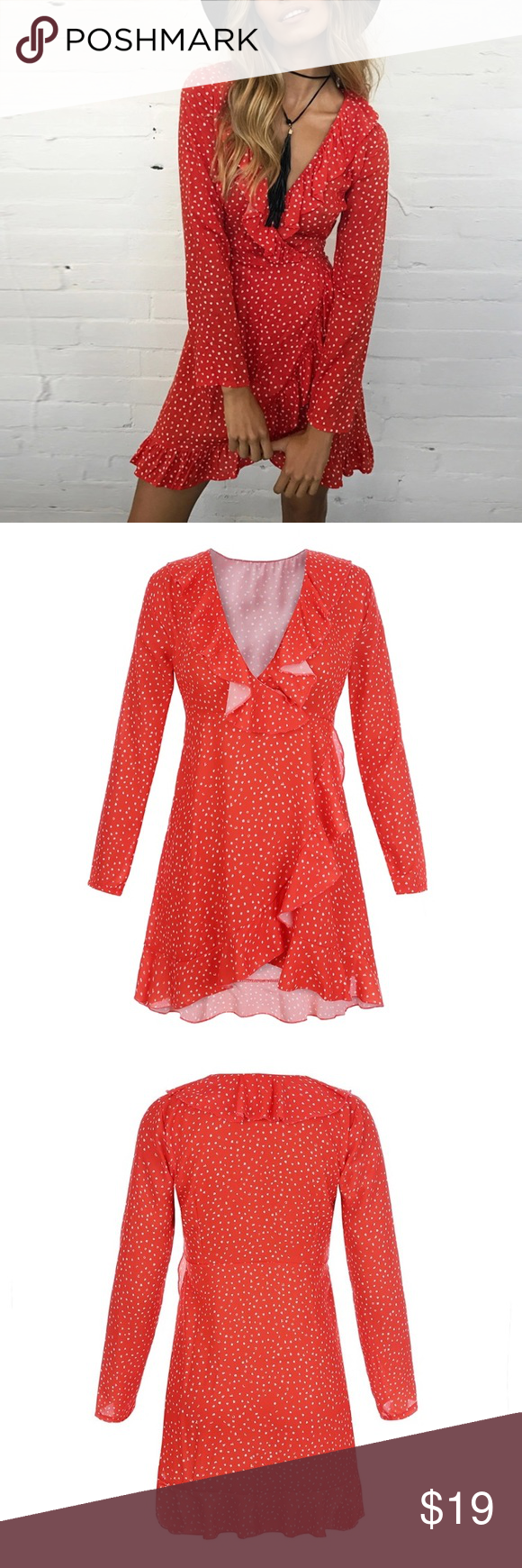 Polk dot print red dress women nwt wrap dresses vestidos and bohemian