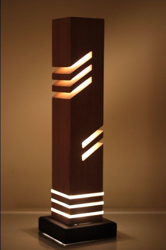 Modern Decorative Table Light Iluminación, Madera y Carpintería