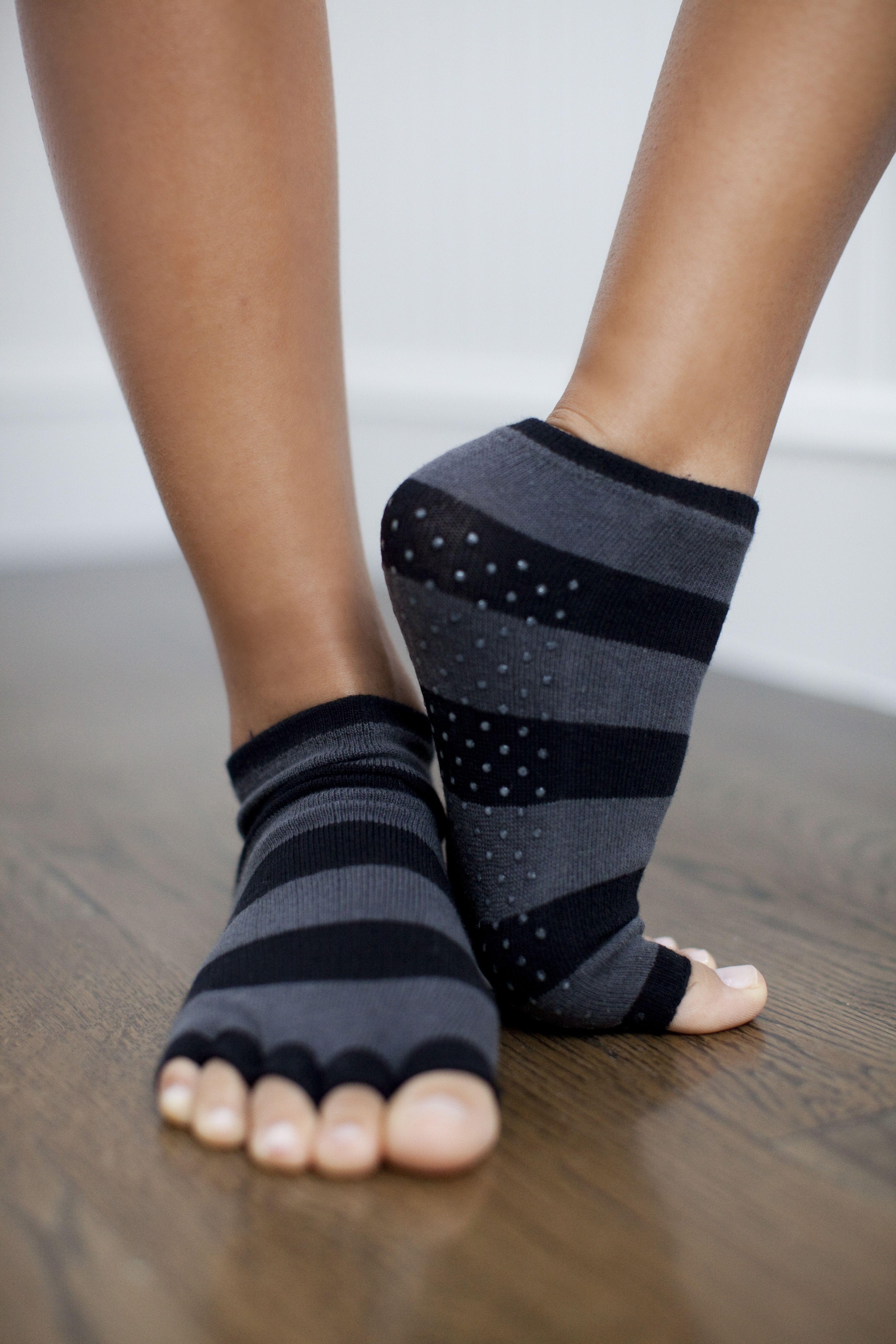 Toezies Sassy Stripes Toeless Non Slip Yoga Socks (With