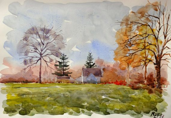 Watercolor Landscape Countryside Painting Houses Wall Decor