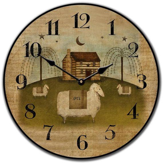 Americana Wall Clock Large Wall Clock Choose From 8 Sizes Etsy Wall Clock Clock Large Wall Clock