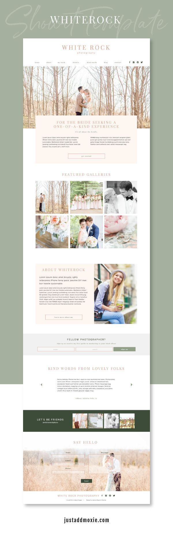 White Rock Showit Template Showit Website Design Inspiration Branding Website Design