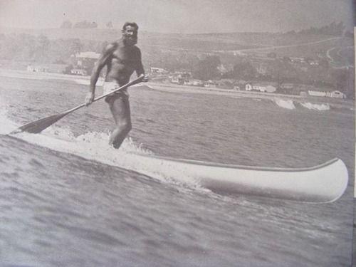 Ron Drummond 1930. Canoe surfing california.