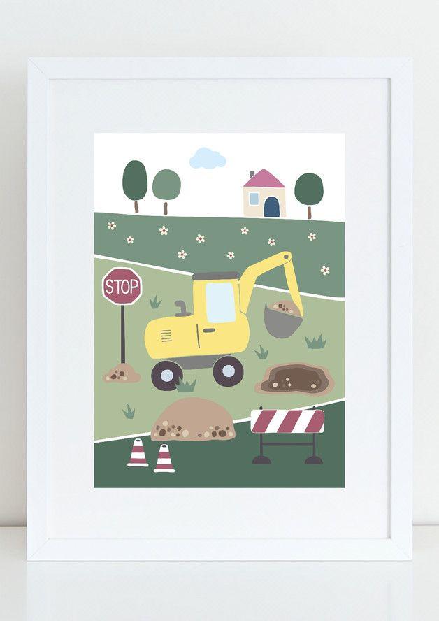Kinderbild GELBER BAGGER Kinder Poster Bauernhof | Bagger kinder ...