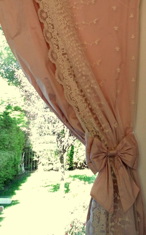 commande paire de gros noeuds shabby chic en soie rose pale pour attache rideaux cortinas. Black Bedroom Furniture Sets. Home Design Ideas