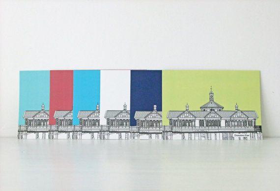 Set of Four Postcards - Dunoon Pier, West Coast of Scotland - cards, seaside, beach house decor