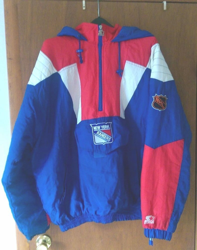 Vintage NY Rangers Hooded Starter Jacket XL comfy and warm with hood and  pockets 03951e4719