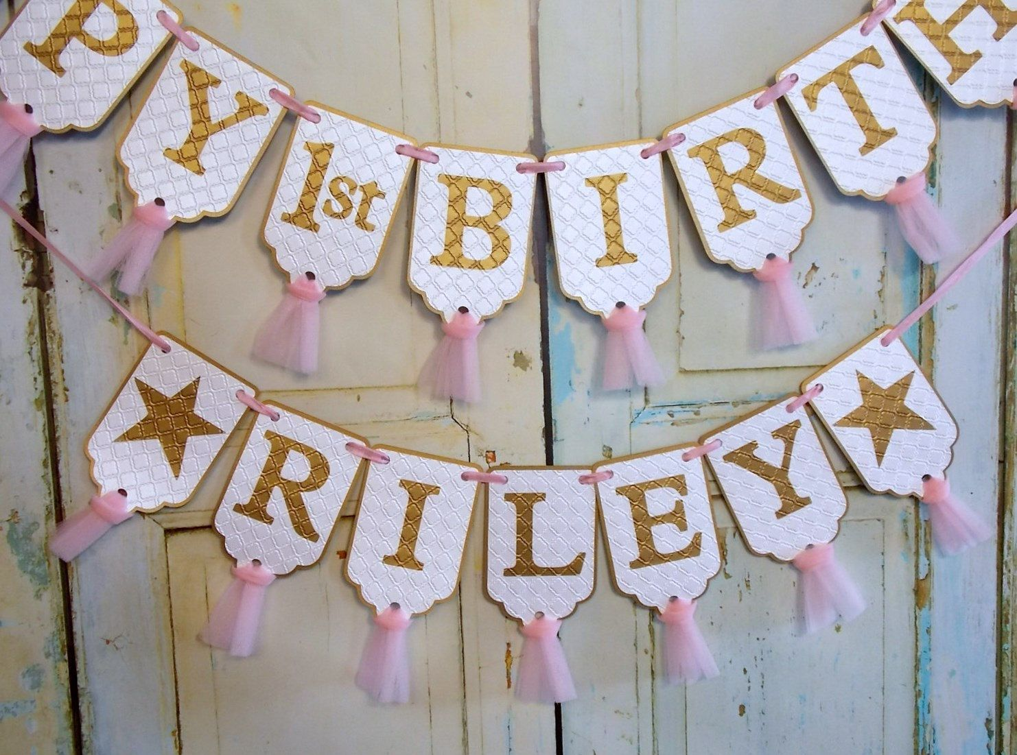 happy 1st birthday banner name banner with stars optional white