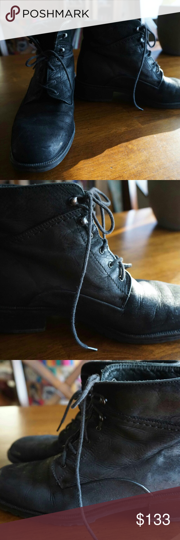 Bally black leather lace up boot Beautifully made black lace up boots by Bally. Can be worn laced up to the top or wrapped around the ankle and folded for a more casual look. They're super sturdy and we'll made. Bally Shoes Lace Up Boots