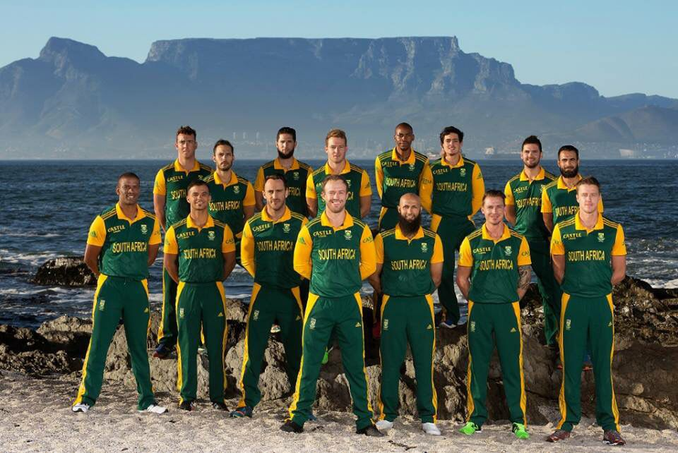 Proudly South African Cricket Team With Table Mt In The