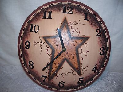 Country Primitive Stars Berries Vines 11 Wood Wall Clock Battery Operated New Wood Wall Clock Primitive Stars Country Primitive