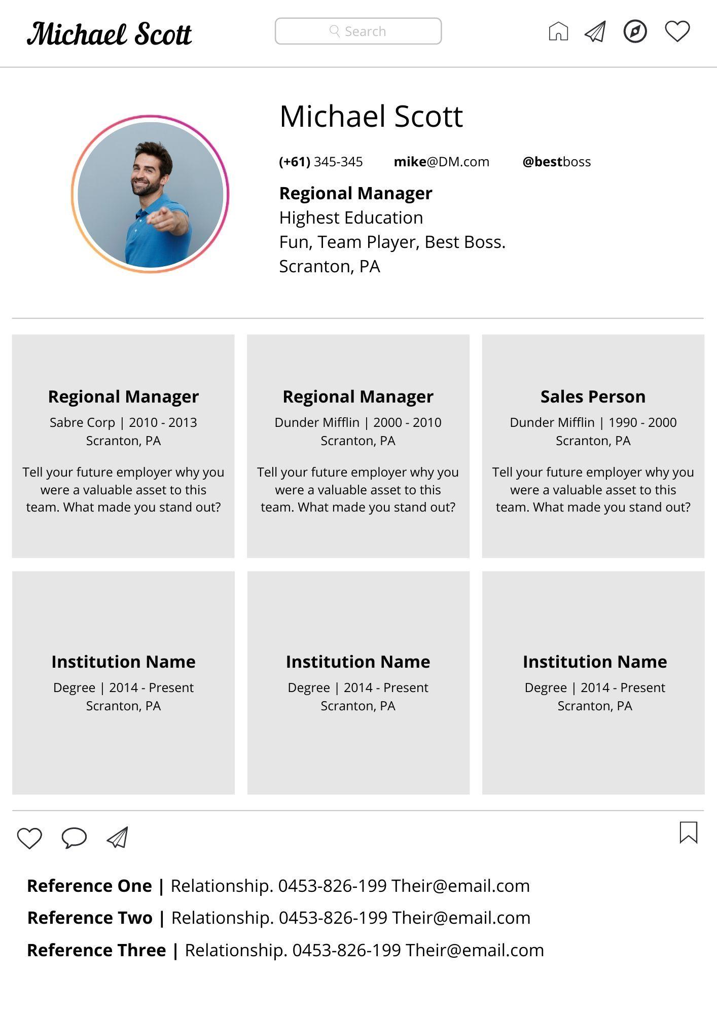 Resume Template Social Media Style in 2020 Workbook