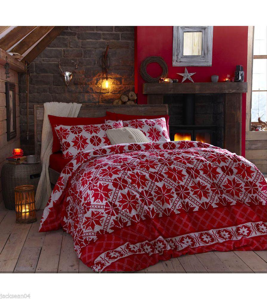 scandanavian christmas snowflake kingsize red 100 brushed. Black Bedroom Furniture Sets. Home Design Ideas