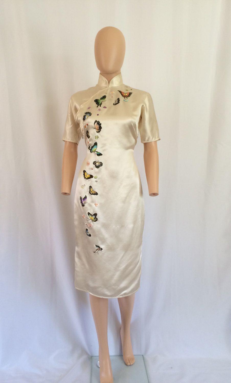 1960er Jahre Seide Cheongsam Kleid bestickt von VeryOaklandVintage ...