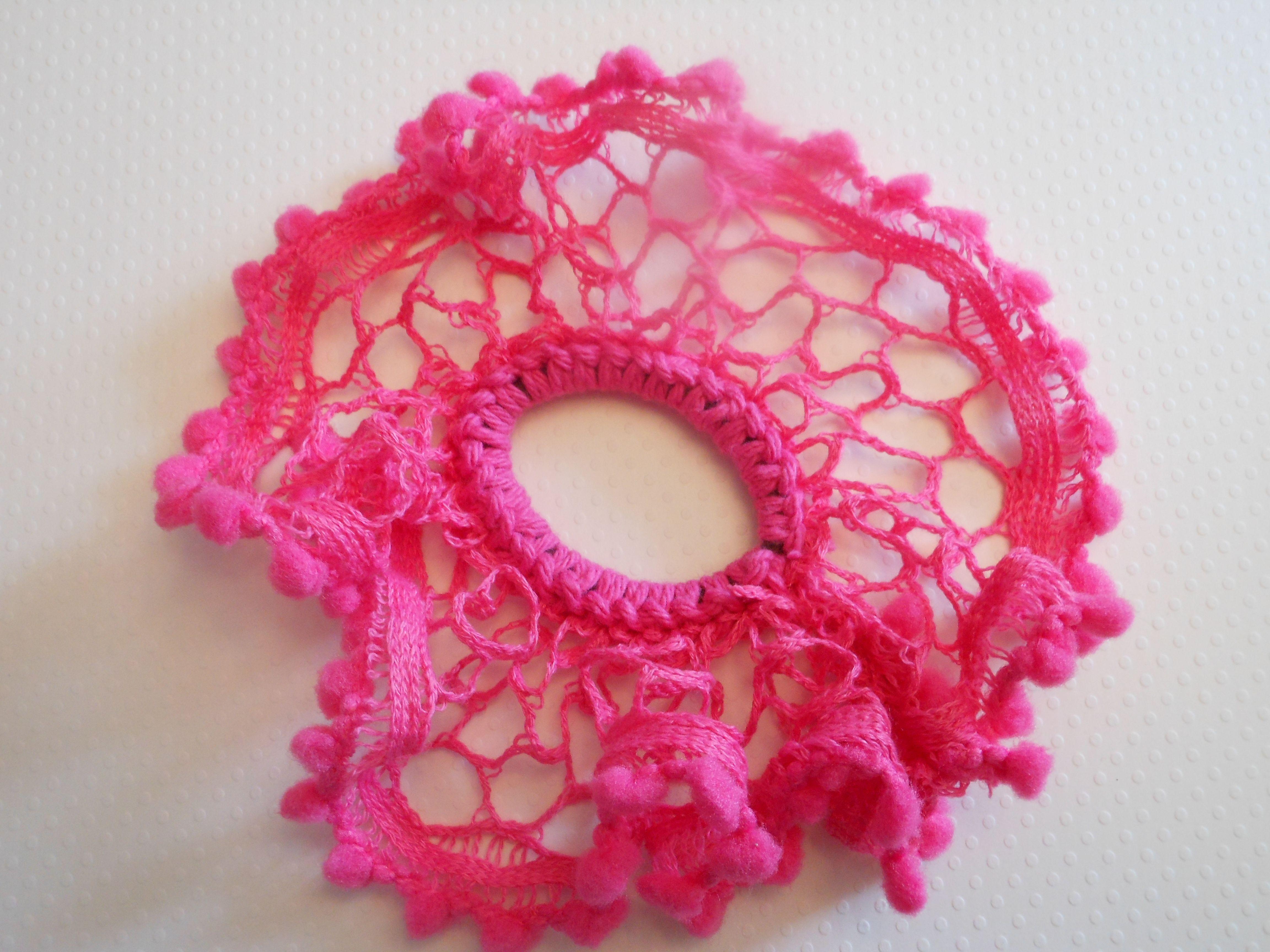 Hand crocheted scrunchie   crochet   Pinterest   Crochet, Stitch and ...
