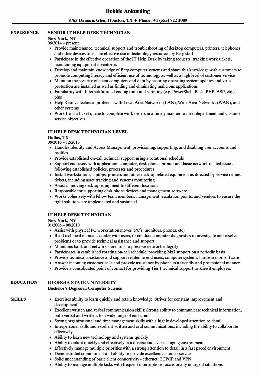 23 help desk resume example in 2020 project manager