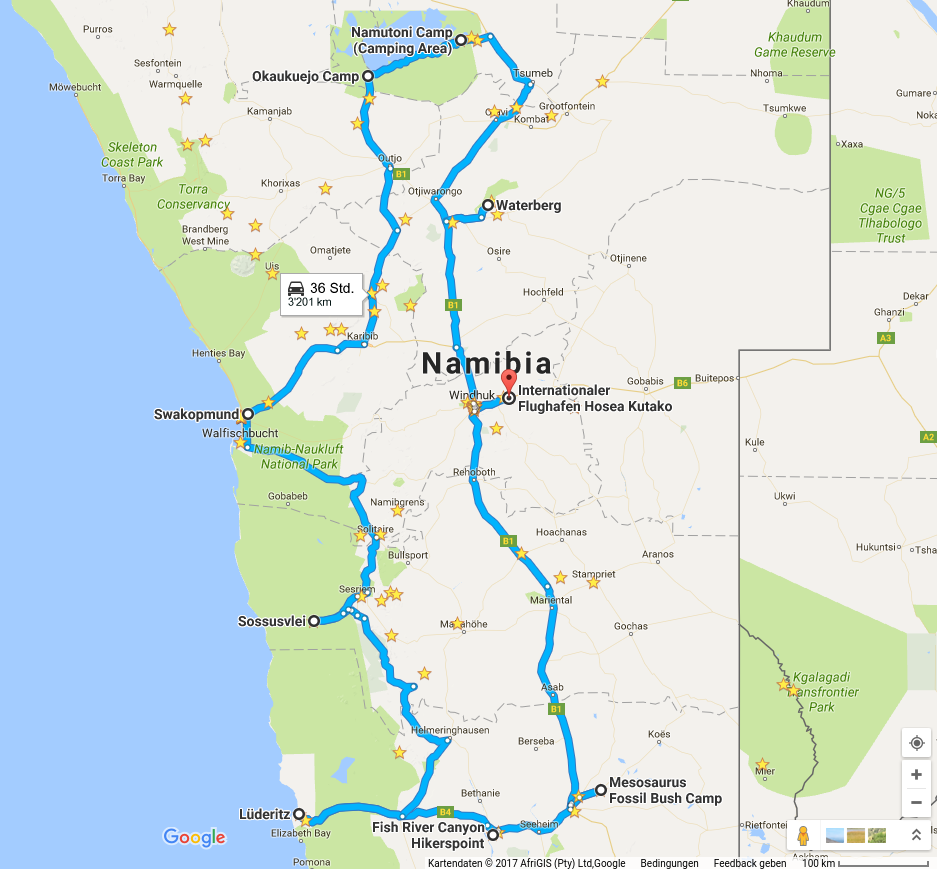 Reiseroute Namibias Suden Und Zentrum Mit Fish River Canyon Luderitz Sossusvlei Swakopmund Etoscha Und Waterberg Namibia Reisen Reisen Afrika Reisen