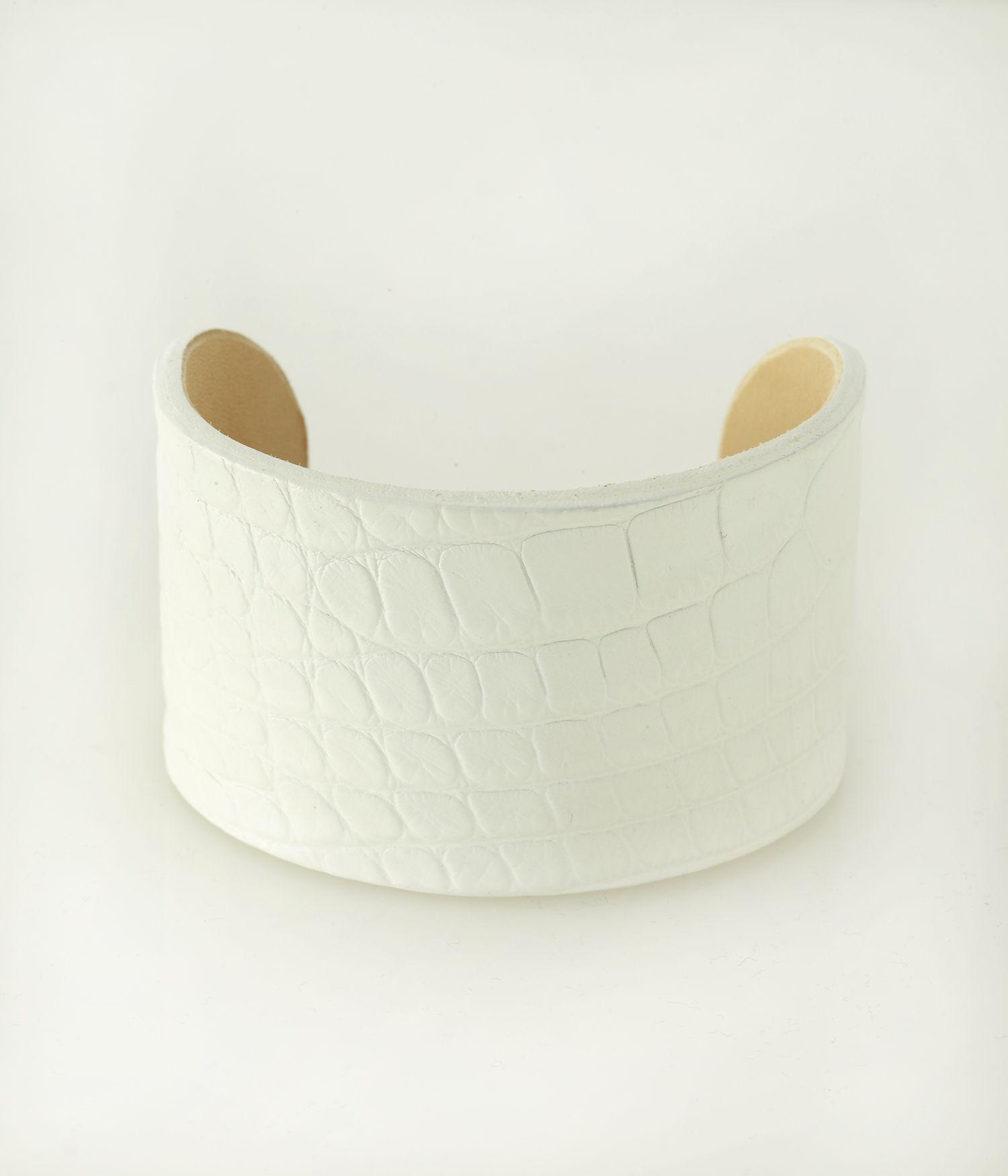 Classic White Alligator Cuff KATIE design Jewelry Modern