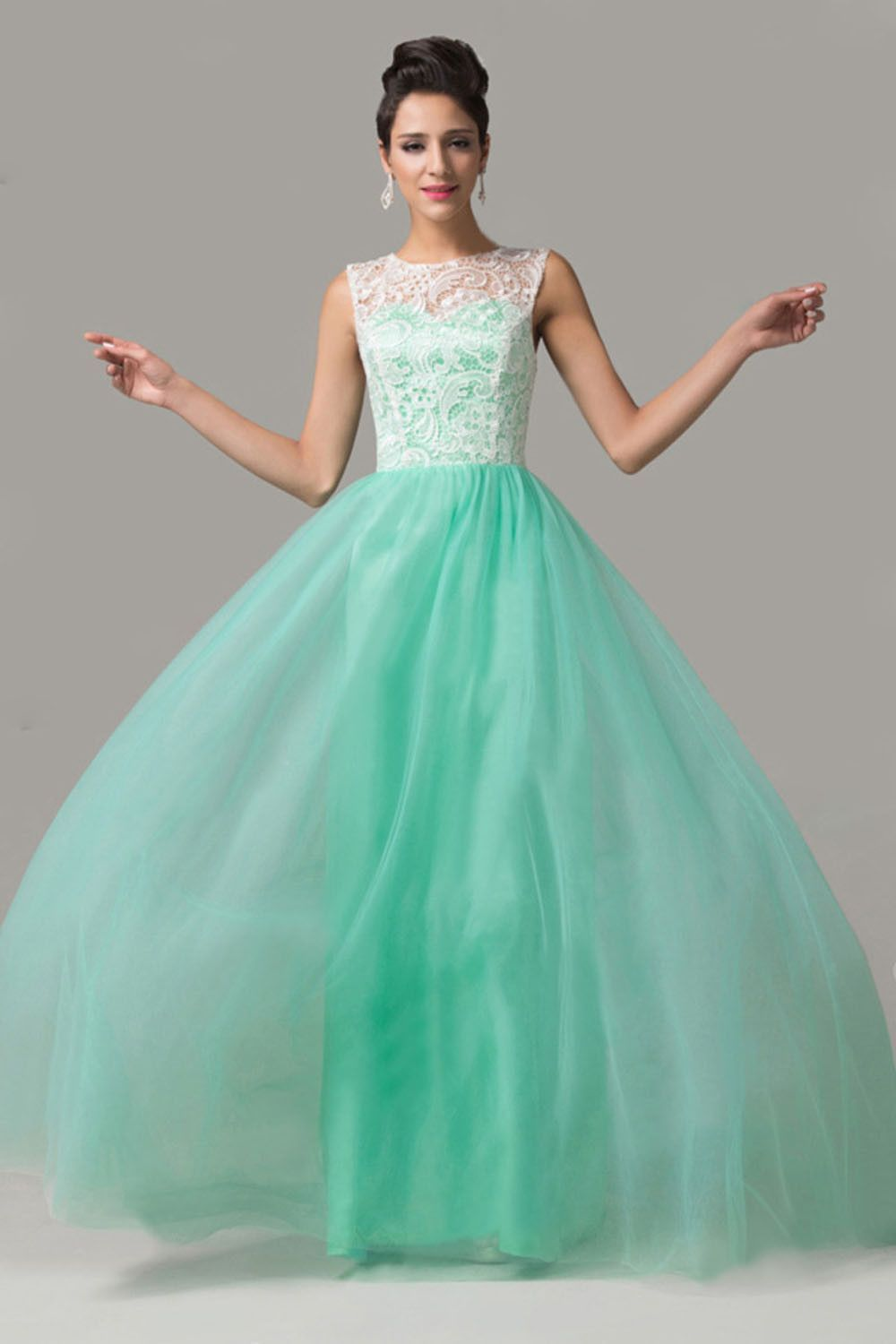 Cap sleeves mint green lace long prom dresses ed fashion