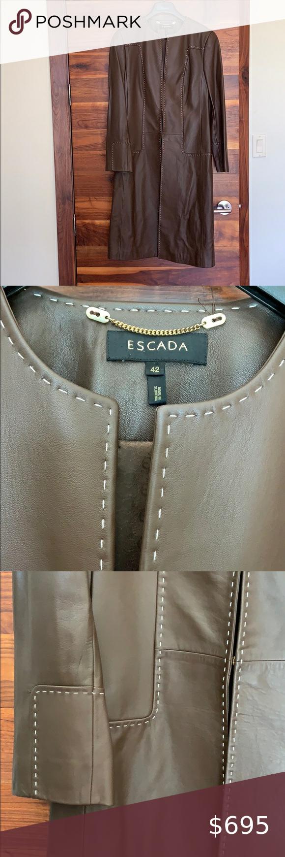 Escada Brown Leather Jacket W White Stitching Brown Leather Jacket Brown Leather Escada [ 1740 x 580 Pixel ]