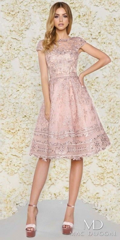 684e4e882276 Mac Duggal Knee Length Lace Bateau Cap Sleeve Cocktail Dress | Pink ...
