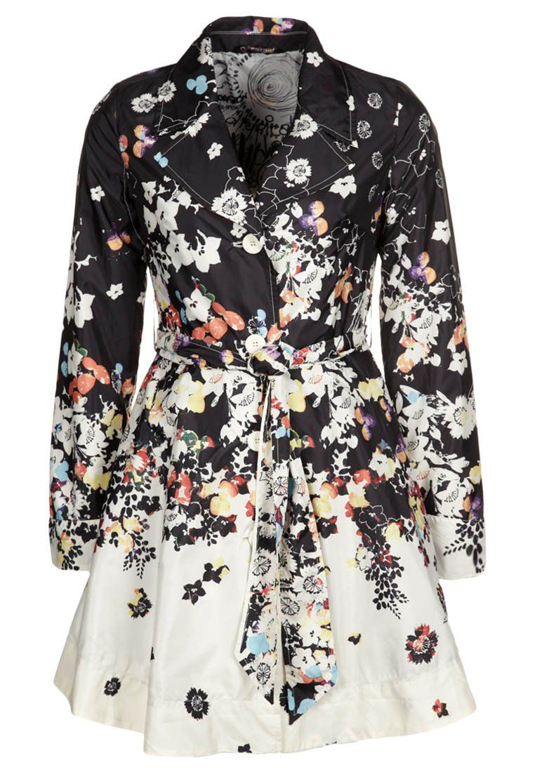 Desigual Primavera Trench Coat With Flower Black White Print Jfashion Etchnic Long Tunik Fashion Elegan Shareen Hints Of Color I Like It But Might Be Too Sweet And Girly For Me Im Afraid
