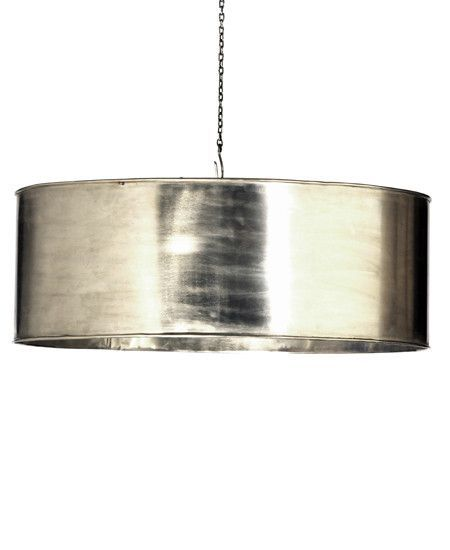 Nickel Plated Cylindrical Lamp With Three Sockets Chain And Canopy Included 3 Long Chain 60 Watt M Industrial Hanging Lights Drum Light Hanging Lights